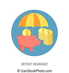 Deposit Insurance Flat Icon for Web Site, Advertising with...