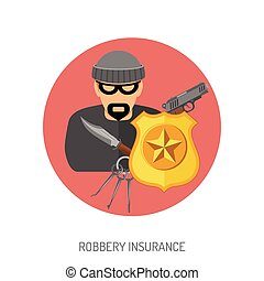 Robbery Insurance Flat Icon for Web Site, Advertising with...