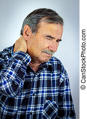 Senior Man Suffering With Severe Neck Pain