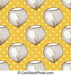 Hazelnut in vintage style with polka dot, vector seamless...