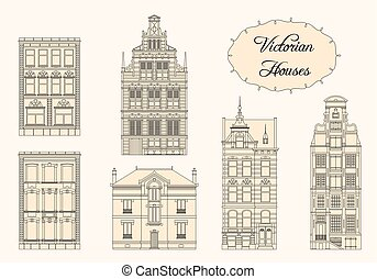 Victorian houses in monochrome