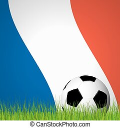 soccer ball in front of france flag - soccer ball lying in...
