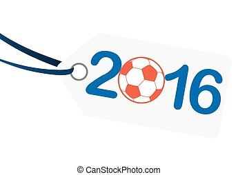 hangtag with lettering 2016 with france national colors -...