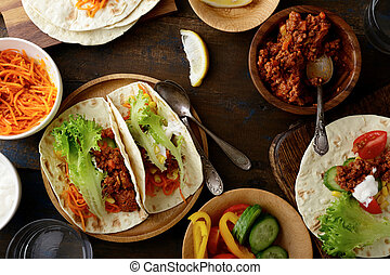 Mexican food - delicious Tacos with ground beef and...
