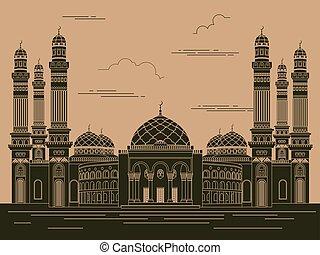 City buildings graphic template Al Saleh mosque Yemen Vector...