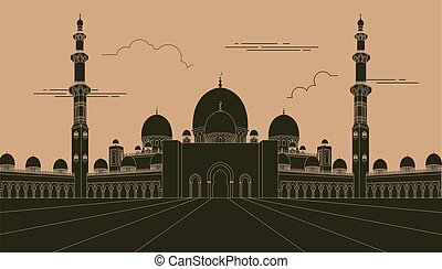City buildings graphic template UAE mosque Vector...