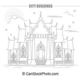 City buildings graphic template Thailand Marble Temple...