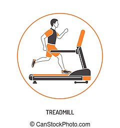 Runner on Treadmill Concept - Fitness, Cardio, Healthy...