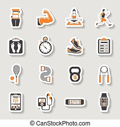 Fitness Icon Sticker Set - Fitness, Gym, Health Sticker...