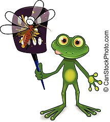 Frog and mosquito - Illustration a green frog kills a...