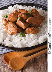 Adobo Chicken with a side dish of rice close-up. Vertical