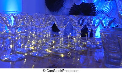 Glass goblets on the leg