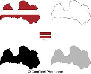 Latvia country black silhouette and with flag on background