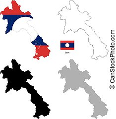 Laos country black silhouette and with flag on background