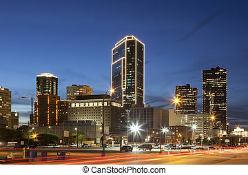 Fort Worth downtown at night. Texas, USA - Downtown of Fort...