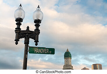 Street sign and buildings - Boston - MA.
