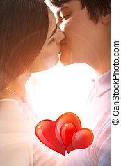 親吻, 夫婦, 年輕, 浪漫
