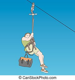 Female zip line rider side view - An image of a female zip...
