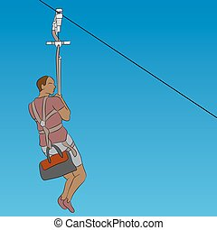 African male zip line rider - An image of a african male zip...