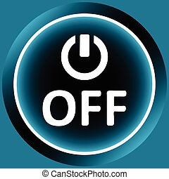 Icon white switching off and word - Icon graphic sign of...
