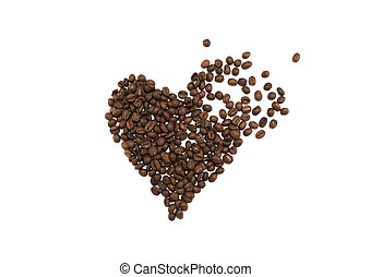 Smashed heart made of coffee beans on white background