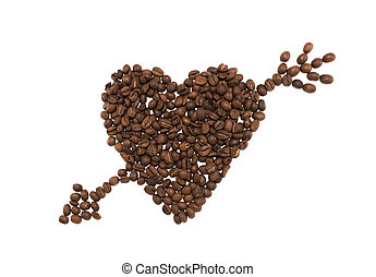 Heart with arrow made of coffee beans on white background