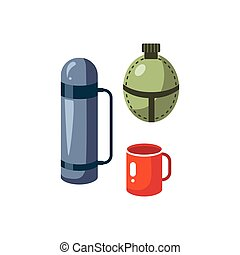 Thermos, Mug And Flask Cartoon Simple Style Colorful...