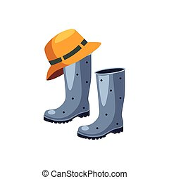 Rubber Boots And Hat Cartoon Simple Style Colorful Isolated...