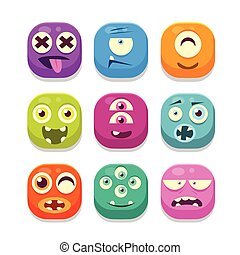 Monster Emoji Icons Collection - Monster Emoji Colorful...