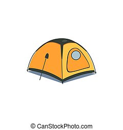 Yellow Canvas Tent Cartoon Simple Style Colorful Isolated...