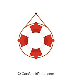 Life Preserver For The Boat Cartoon Simple Style Colorful...