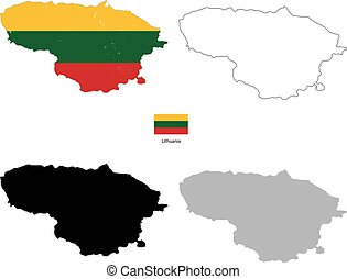 Lithuania country black silhouette and with flag on background