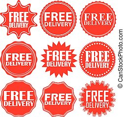 Free delivery signs set, free delivery sticker set, vector illustration