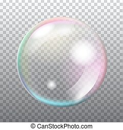 Abstract transparent soap bubble with flares on light grey...