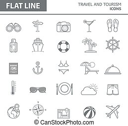 Icon set - Set of modern simple line icons in flat design....