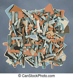 abstract fragmented sculpture in blue and orange