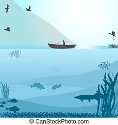 Fishing on the wild lake - Vector illustration of a...