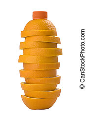Bottle of orange juice made of real orange segments -...