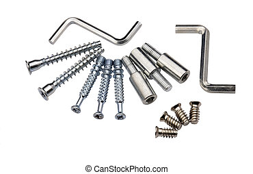 Set of modern bolts and screws for furniture assemblage,...