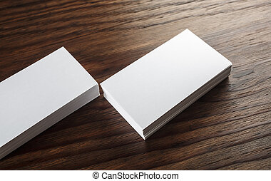 Close-up of blank business cards - Close-up of blank white...