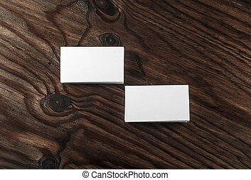 Business cards on wooden background - Photo of blank white...