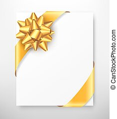 Celebration Paper Greet Card with Golden Festive Ribbon Bow...