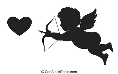 Angel Amur Cupid on Wings with Bow Arrow and Heart White and...