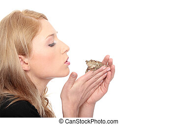 Frog - A gorgeous young blond woman kissing a frog