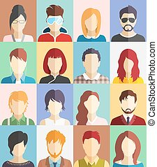 Set of People Faces Avatars Icons