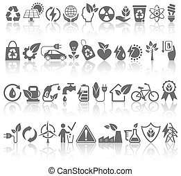 Eco Friendly Bio Green Energy Sources Black Icons Signs Set...