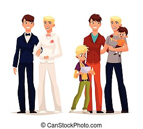 gay wedding, couple man with a child - concept of gay love,...