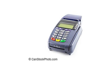 credit card reader machine on white background