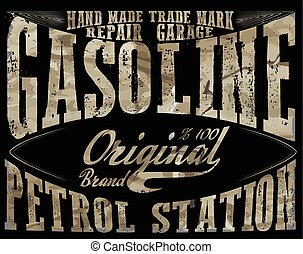 Vintage Gasoline,authentic gas pump vector illustration print. Vintage gasoline retro signs and labels. Gas station.