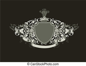 heraldic shield - An heraldic shield or badge, blank so you...